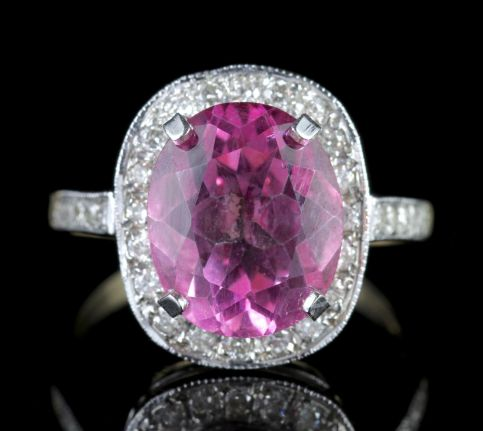 Pink Topaz Diamond Gold Ring 6ct Pink Topaz FRONT