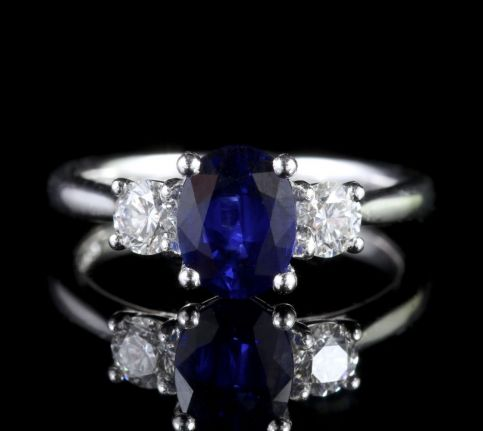 Sapphire Diamond Trilogy Ring Platinum Engagement Ring FRONT