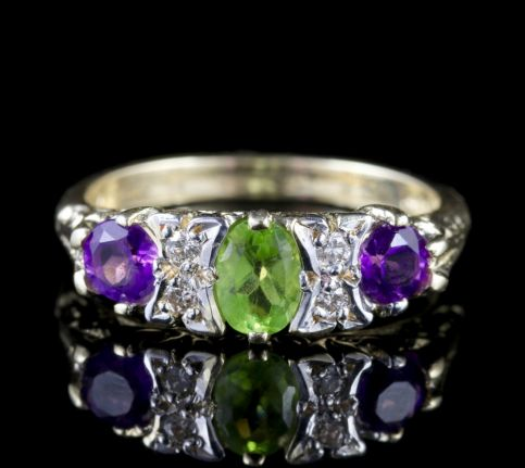Suffragette Gold Amethyst Periodt Diamond Ring FRONT