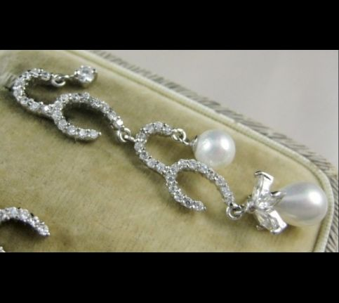 EXQUISITE LONG SILVER PASTE & PEARL EARRINGS